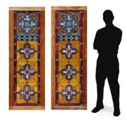 PAIR OF LEADED STAINED GLASS DOOR PANELS