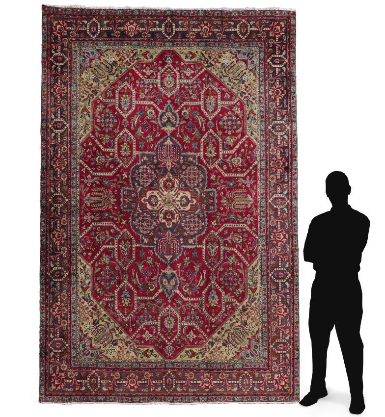 """PERSIAN """"TABRIZ"""" HAND KNOTTED WOOL RUG 8' x 11'3"""""""