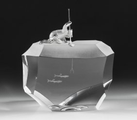 STEUBEN CRYSTAL STERLING ARCTIC FISHERMAN 1023 w/box