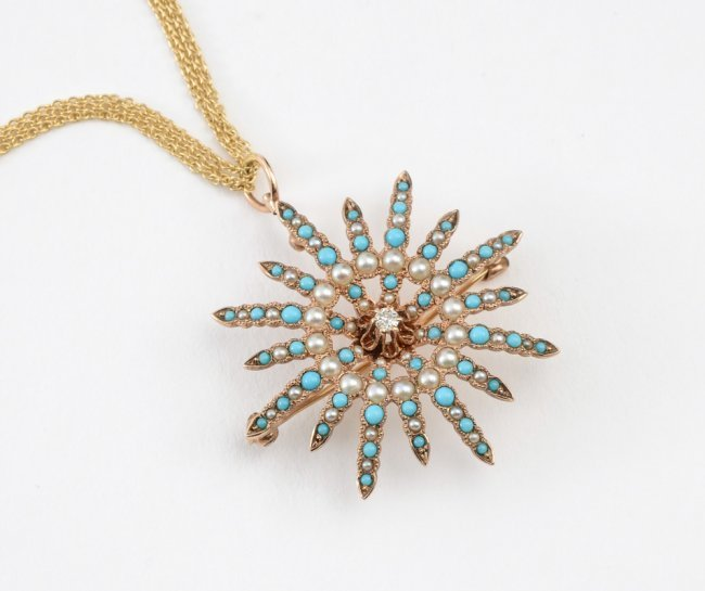 DIAMOND, PEARL & TURQUOISE BROOCH ON GOLD CHAIN