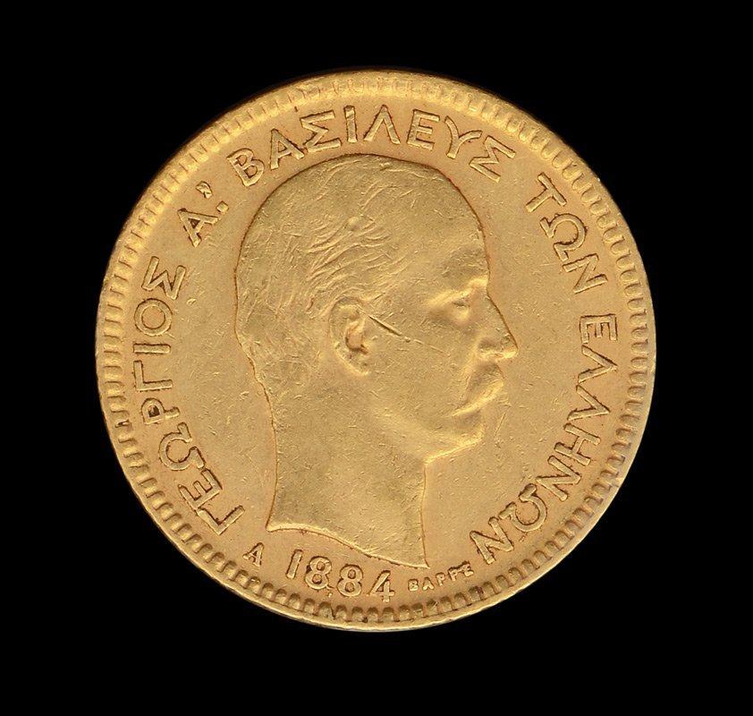 SCARCE 1884 GOLD 20 DRACHMAI GREEK COIN