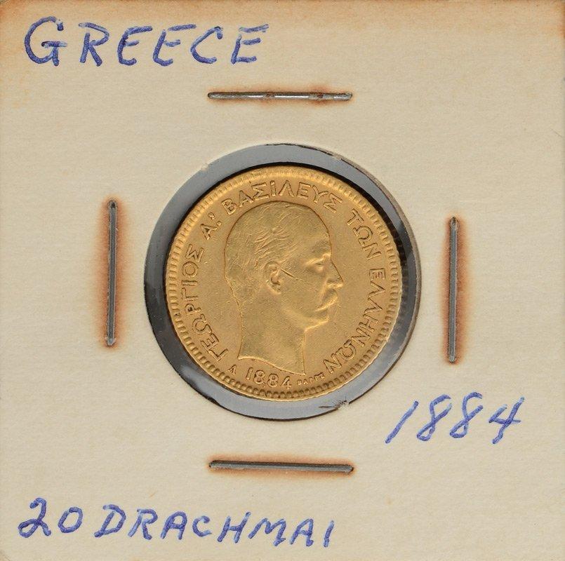 SCARCE 1884 GOLD 20 DRACHMAI GREEK COIN - 3