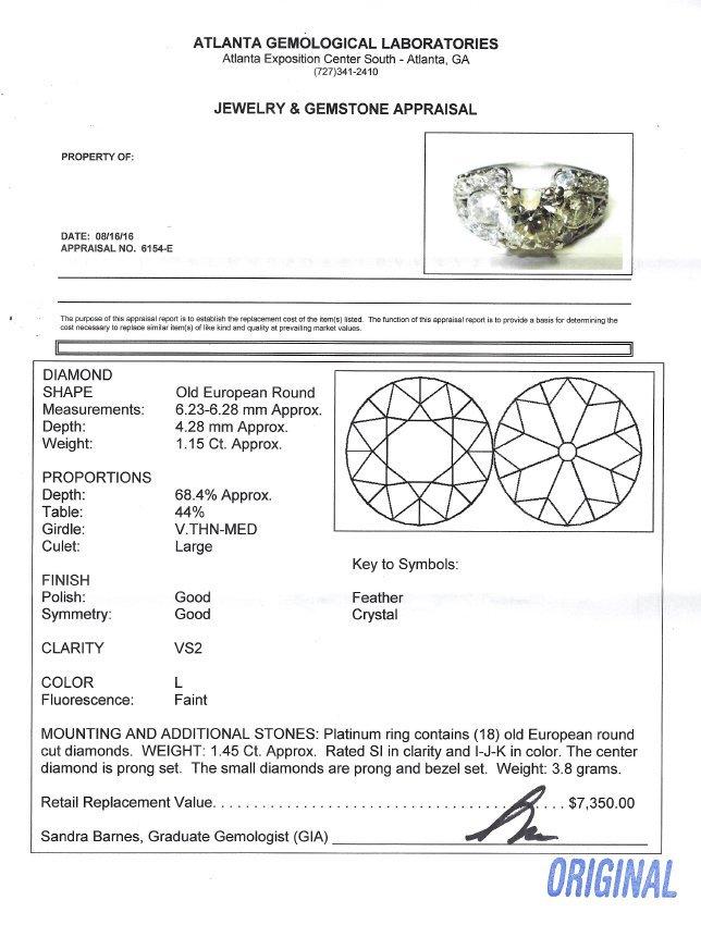 PLATINUM ART DECO ENGAGEMENT RING - 4