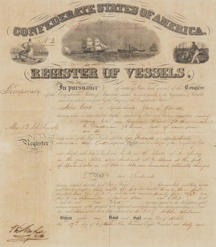 RARE 1861 FLORIDA CONFEDERATE REGISTER OF VESSELS