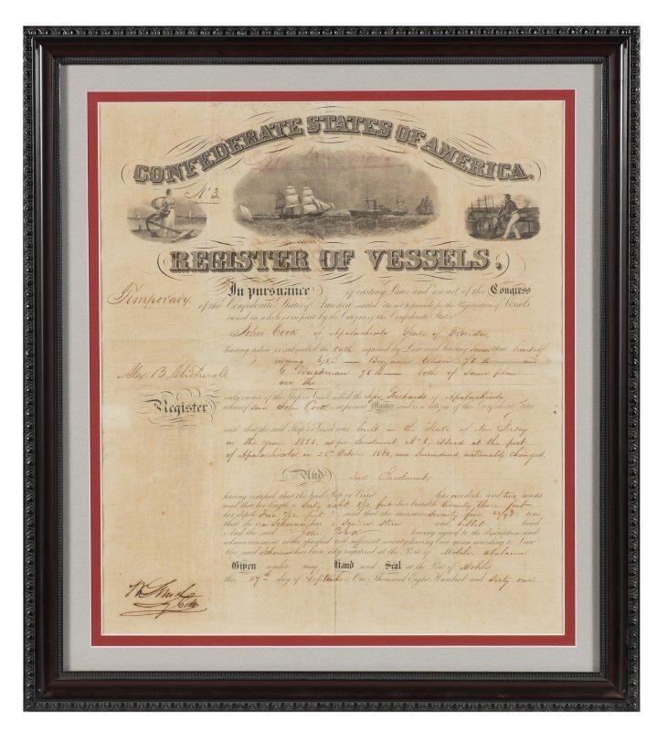 RARE 1861 FLORIDA CONFEDERATE REGISTER OF VESSELS - 2