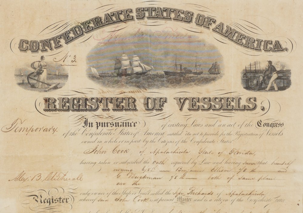RARE 1861 FLORIDA CONFEDERATE REGISTER OF VESSELS - 3