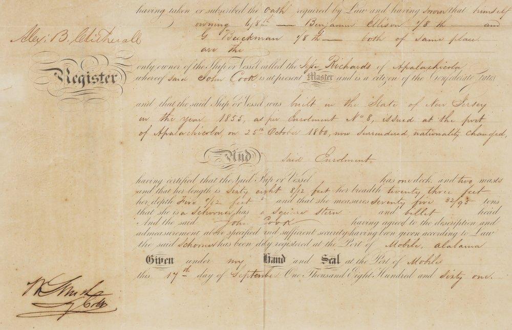 RARE 1861 FLORIDA CONFEDERATE REGISTER OF VESSELS - 4