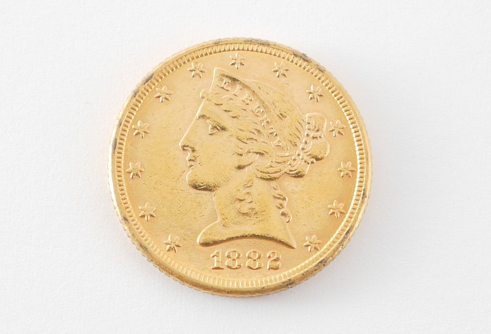 1882 $5 US GOLD LIBERTY HEAD COIN