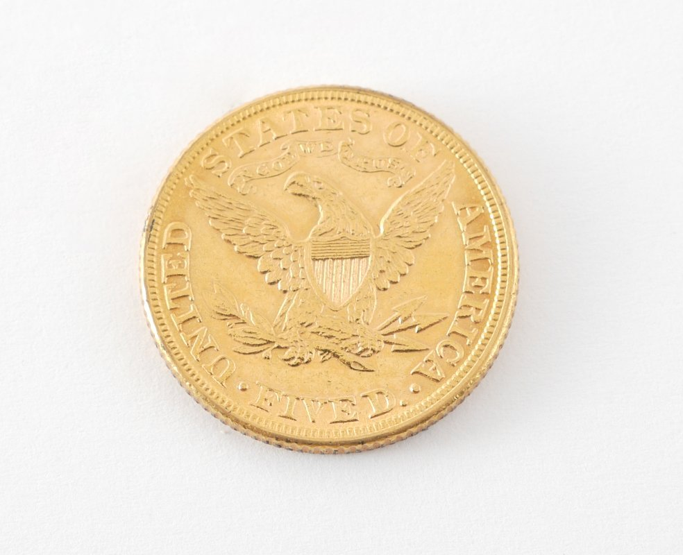 1882 $5 US GOLD LIBERTY HEAD COIN - 2