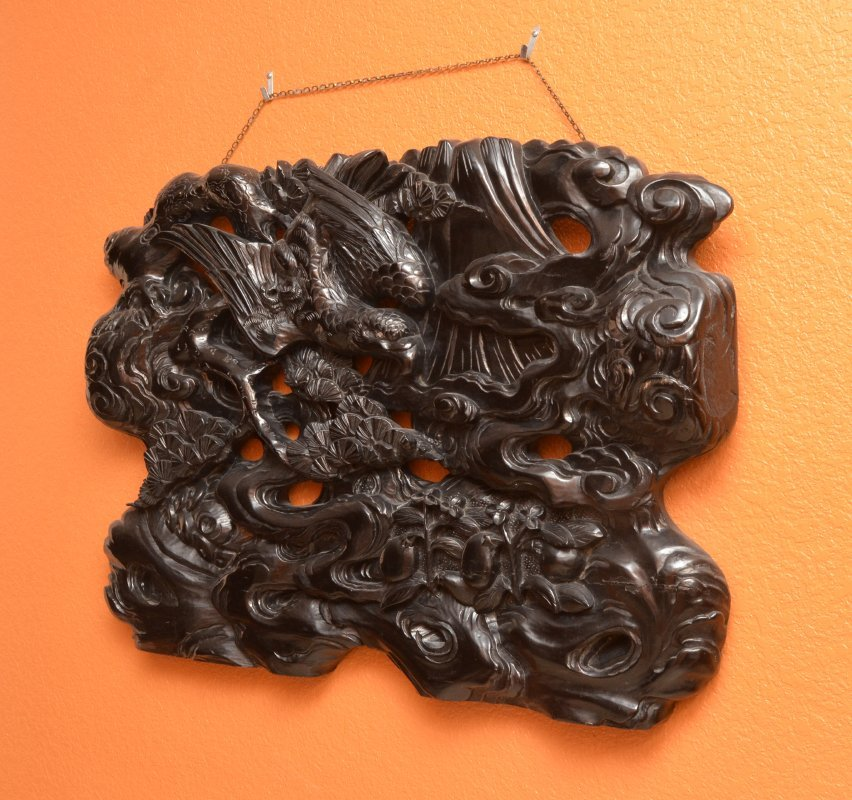 CARVED FIGURAL CHINESE WALL PANEL - 2