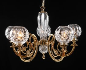 WATERFORD CRYSTAL 5 LIGHT CHANDELIER LISMORE