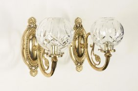 PAIR WATERFORD CRYSTAL WALL SCONCES LISMORE