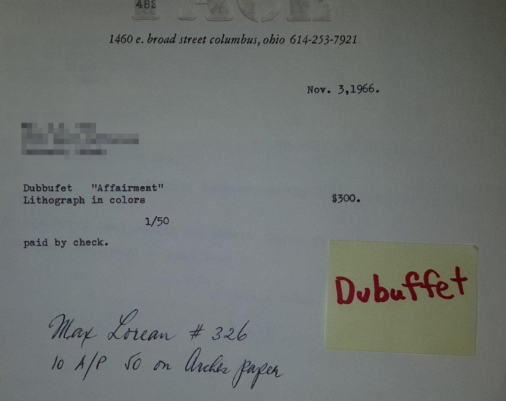 """DUBUFFET LITHOGRAPH """"AFFAIRMENTS"""" 1964 - 7"""