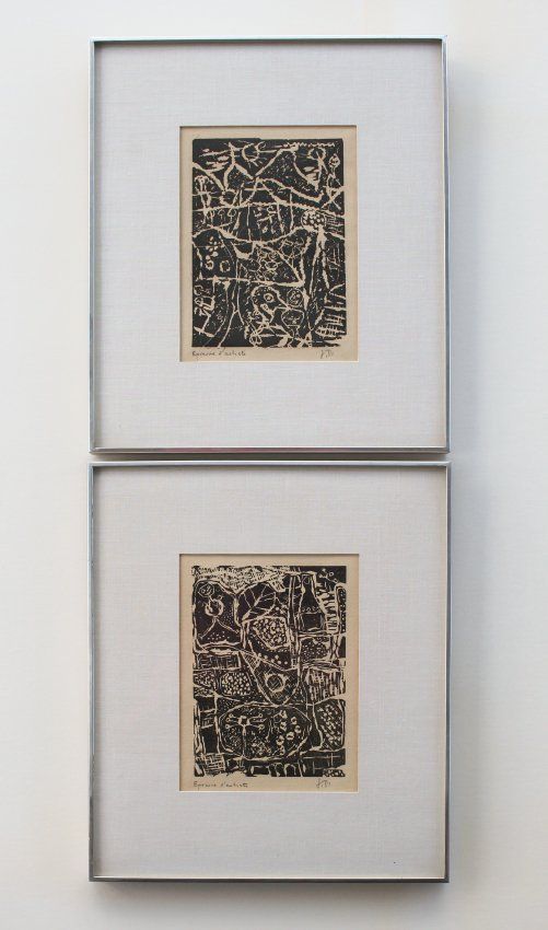 2 JEAN DUBUFFETS ARTISTS PROOF WOODCUTS