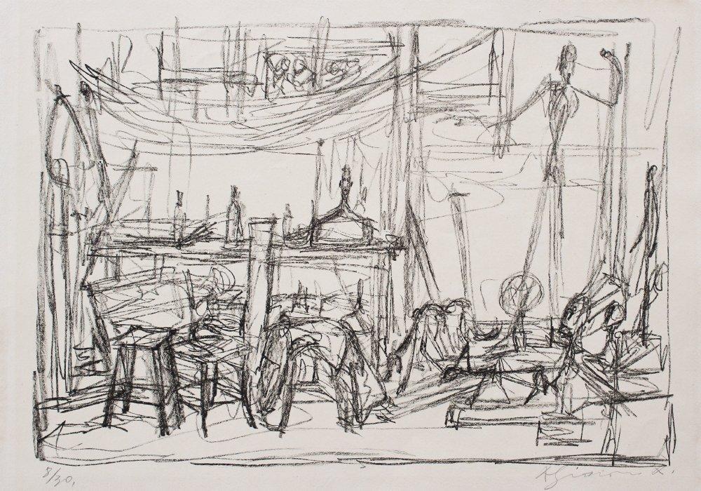 """ALBERTO GIACOMETTI LITHOGRAPH """"STUDIO II"""" 1954"""