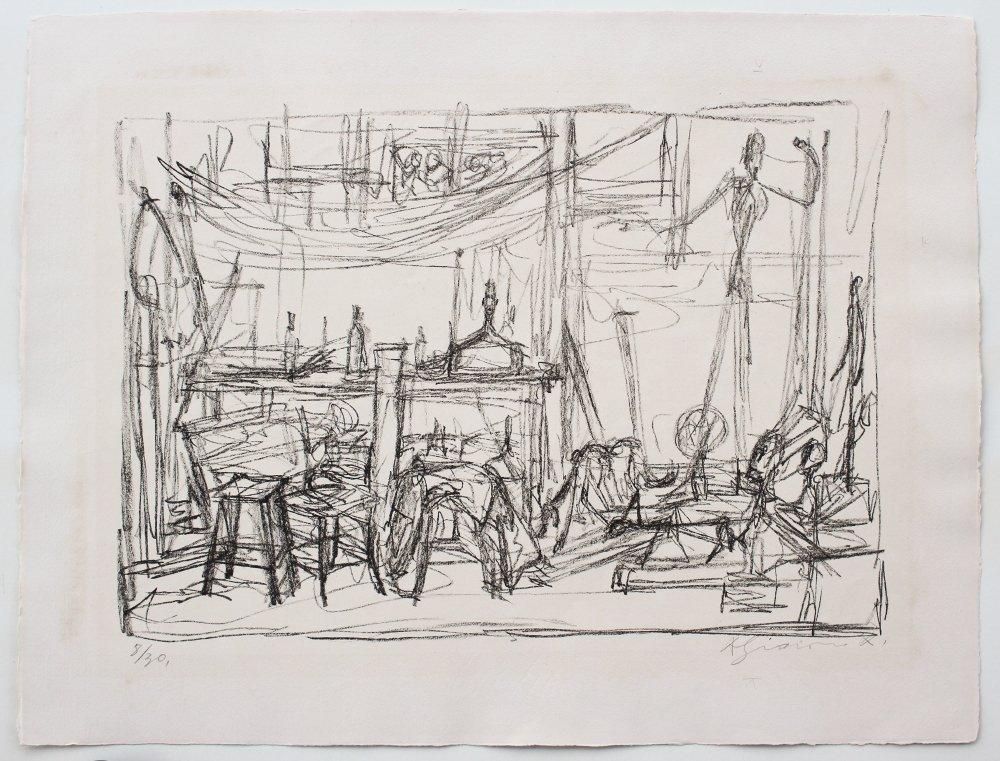 """ALBERTO GIACOMETTI LITHOGRAPH """"STUDIO II"""" 1954 - 2"""