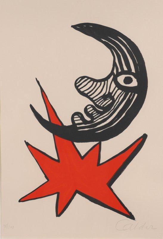 """ALEXANDER CALDER LITHOGRAPH """"MOON & RED STAR"""""""
