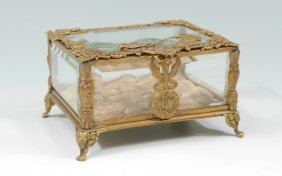 FRENCH 19TH CENTURY BRONZE & CRYSTAL BOX