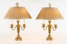PAIR FRENCH GILT BRONZE BOUILLOTTE LAMPS