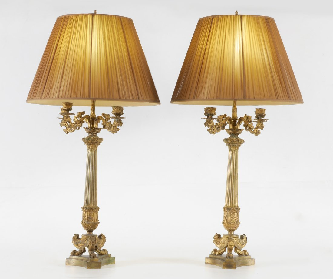 PAIR FRENCH 19TH CENTURY CANDELABRA LAMP