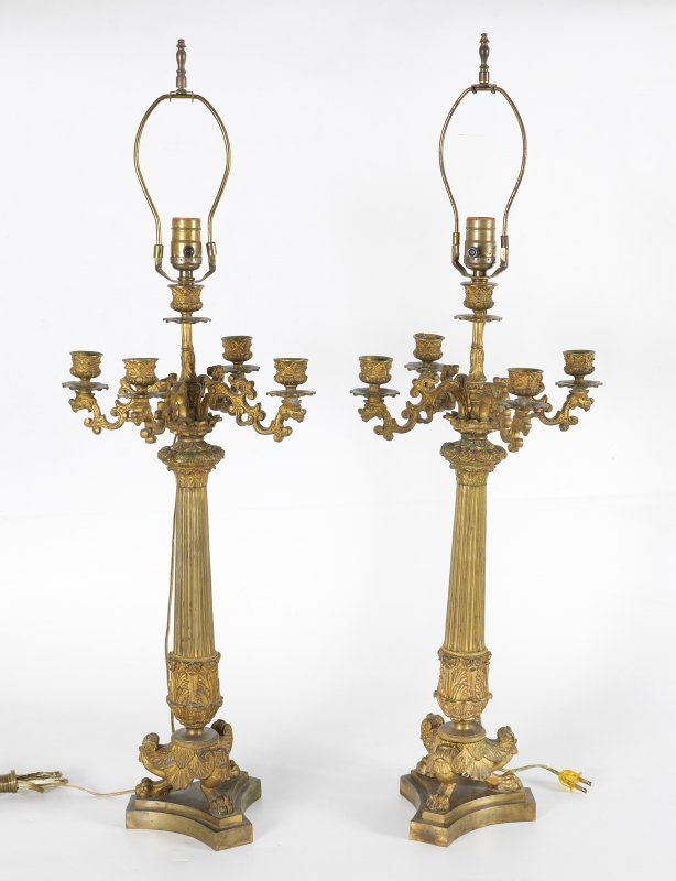 PAIR FRENCH 19TH CENTURY CANDELABRA LAMP - 2