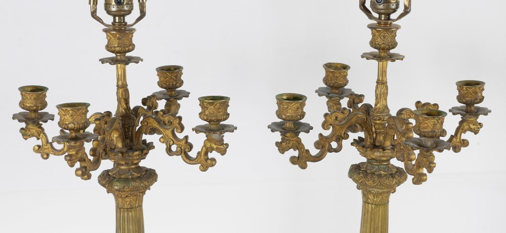 PAIR FRENCH 19TH CENTURY CANDELABRA LAMP - 4
