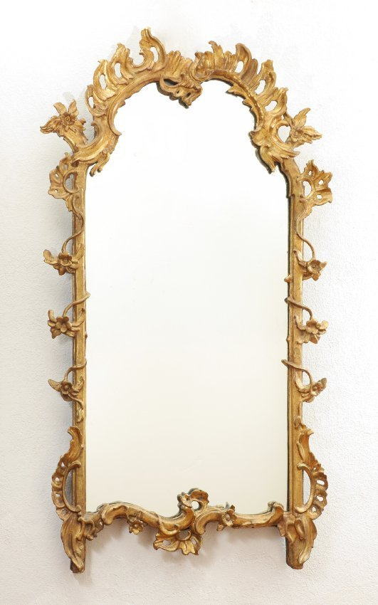 19TH CENTURY FRENCH ROCOCO STYLE GILT WOOD MIRROR