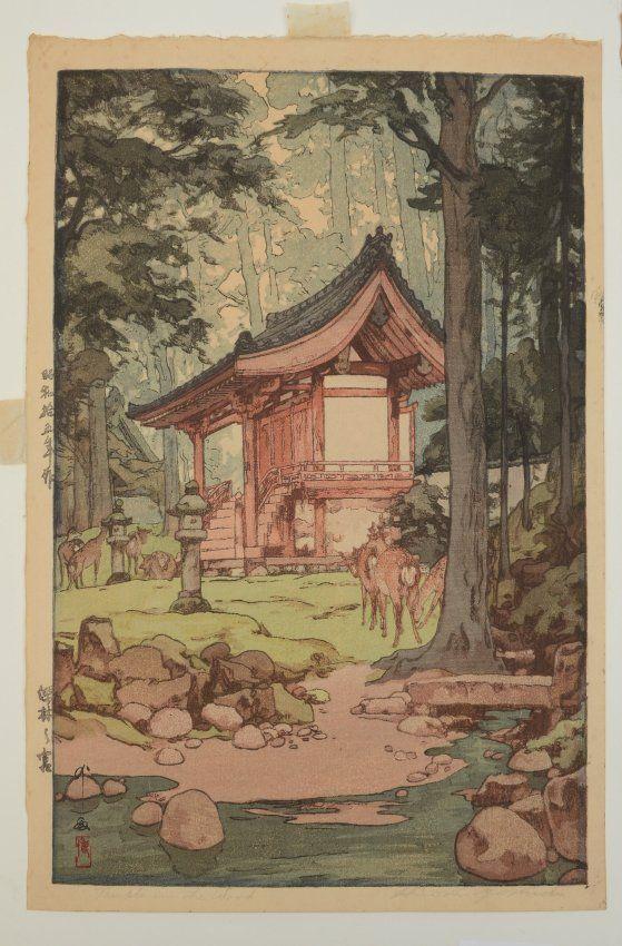 HIROSHI YOSHIDA BLOCK PRINT TEMPLE IN THE WOOD