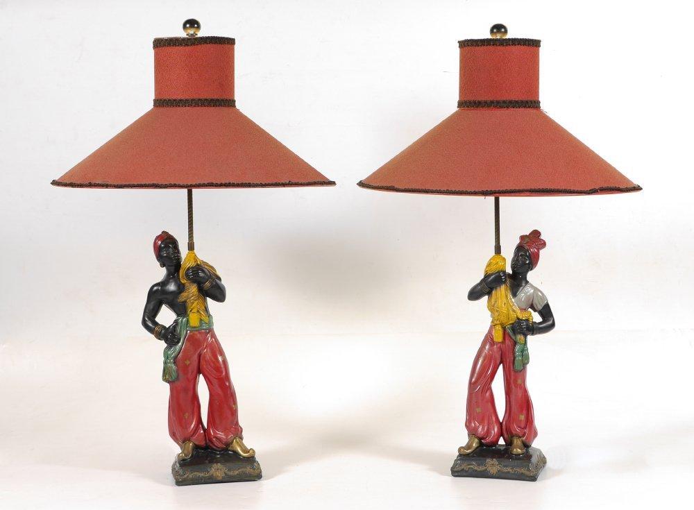 PAIR VINTAGE BLACKAMOOR TABLE LAMPS