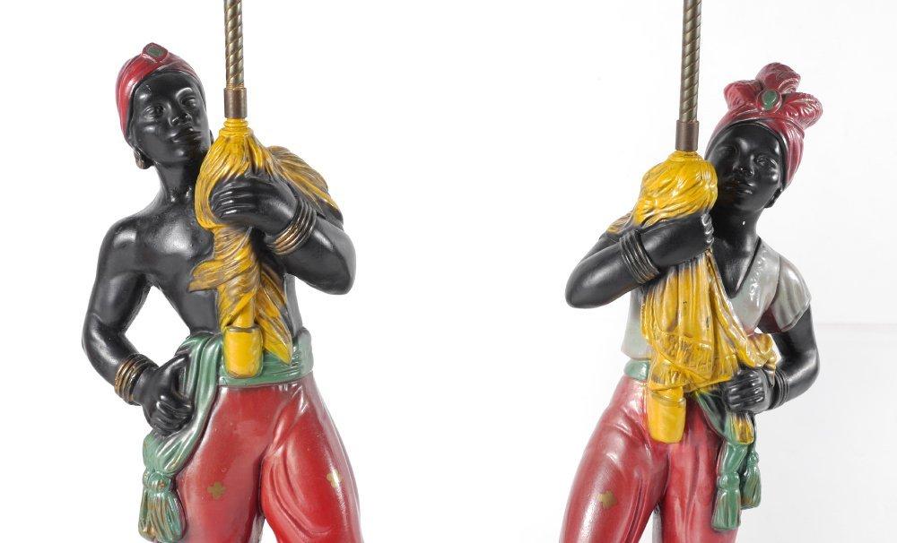 PAIR VINTAGE BLACKAMOOR TABLE LAMPS - 3