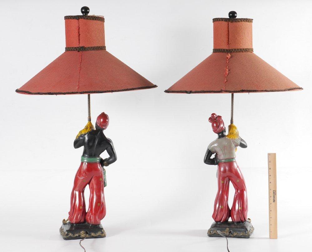 PAIR VINTAGE BLACKAMOOR TABLE LAMPS - 4