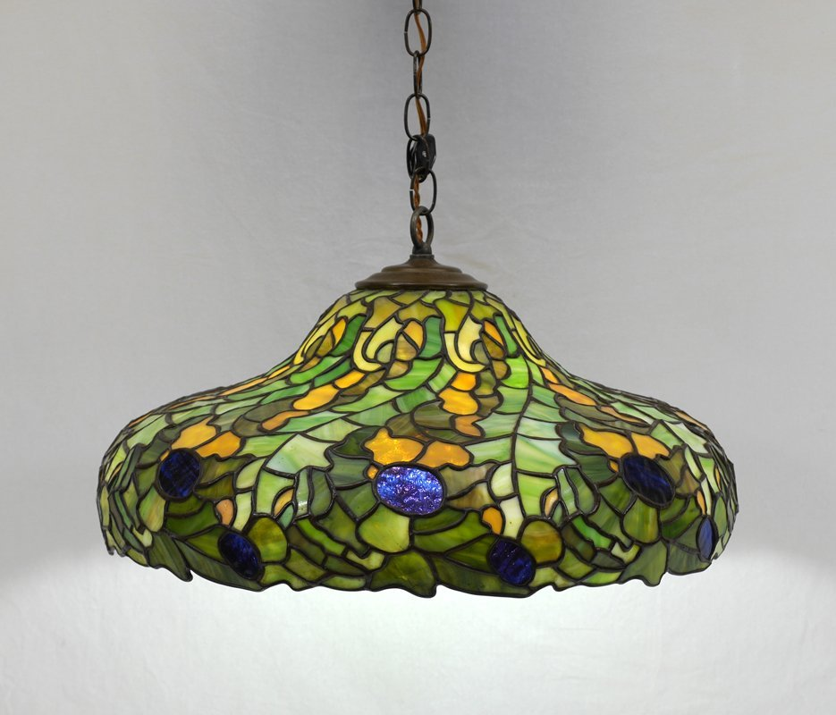 LEADED STAINED GLASS HANGING SHADE