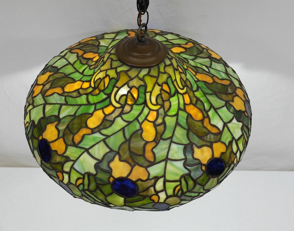 LEADED STAINED GLASS HANGING SHADE - 2
