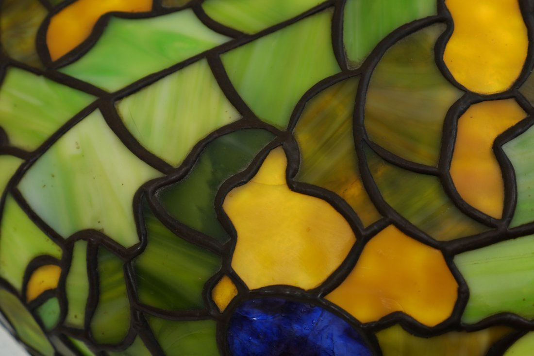 LEADED STAINED GLASS HANGING SHADE - 3