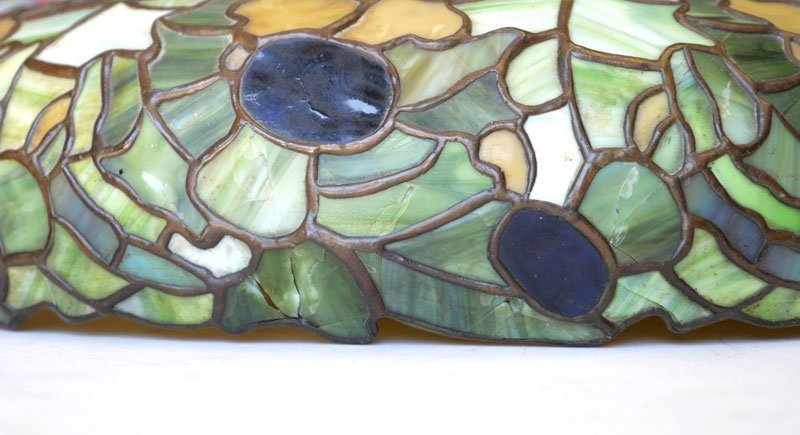 LEADED STAINED GLASS HANGING SHADE - 7