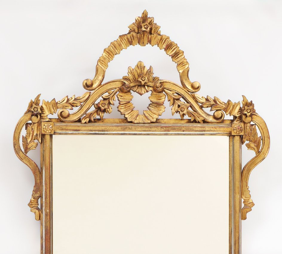CARVED GILT WOOD WALL MIRROR - 2