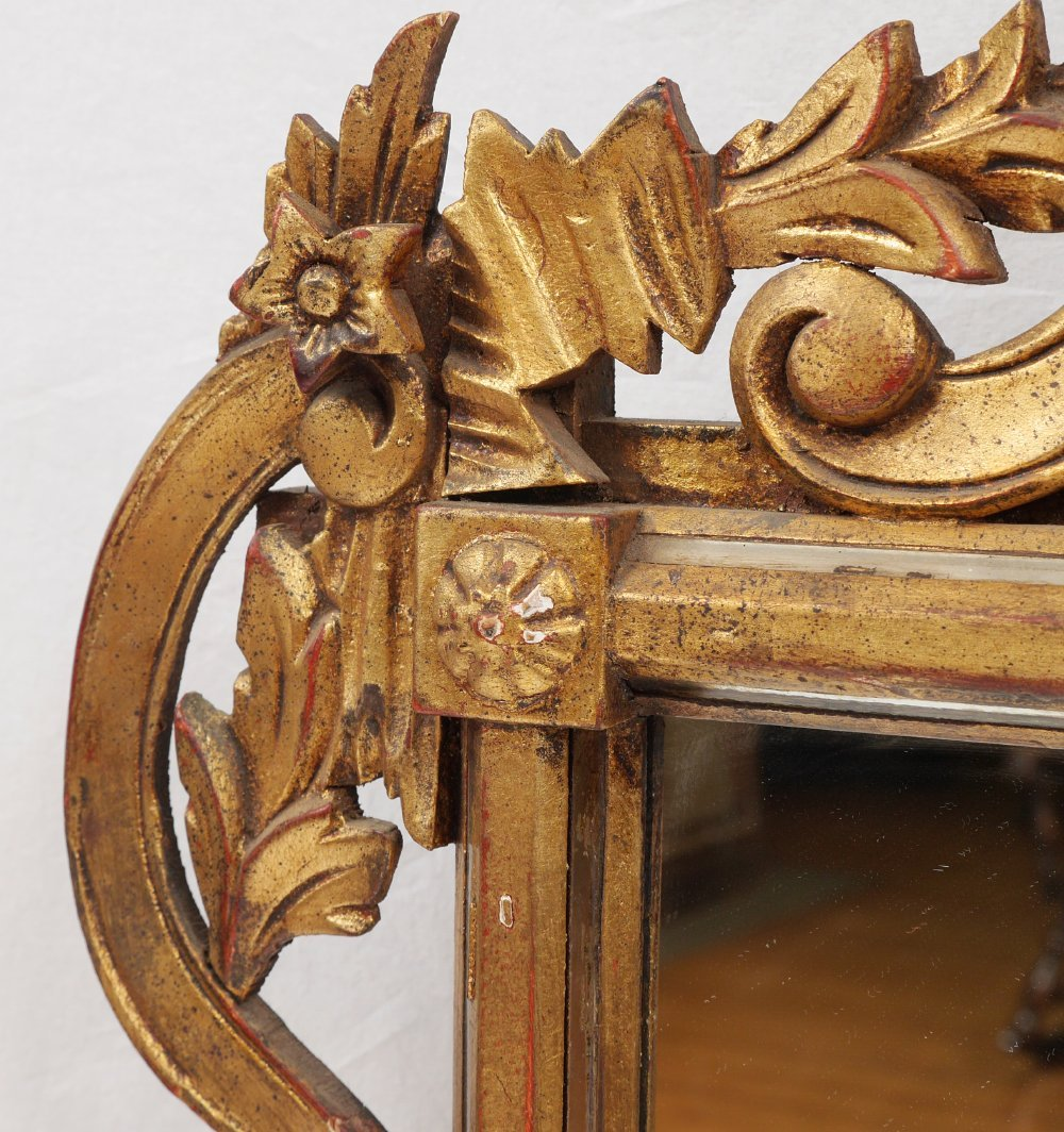 CARVED GILT WOOD WALL MIRROR - 4