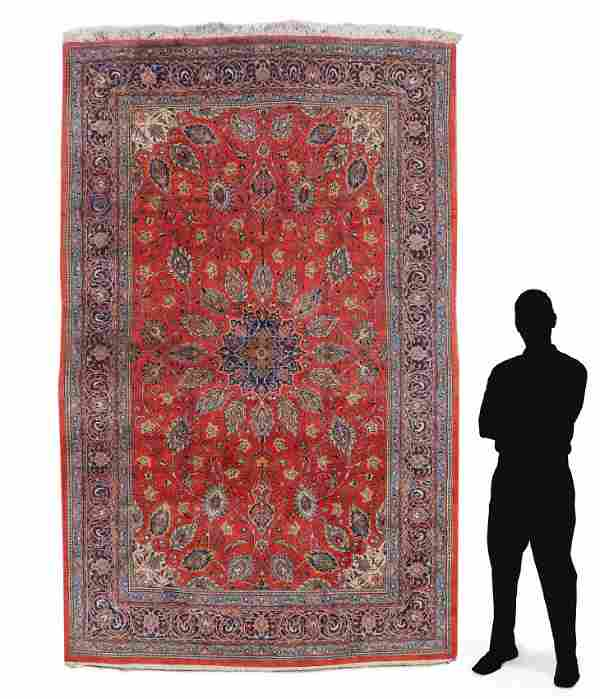 """PERSIAN HAND KNOTTED WOOL RUG, 7'3"""" x 10'7"""""""