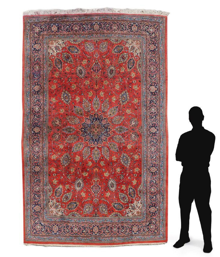 "PERSIAN HAND KNOTTED WOOL RUG, 7'3"" x 10'7"""
