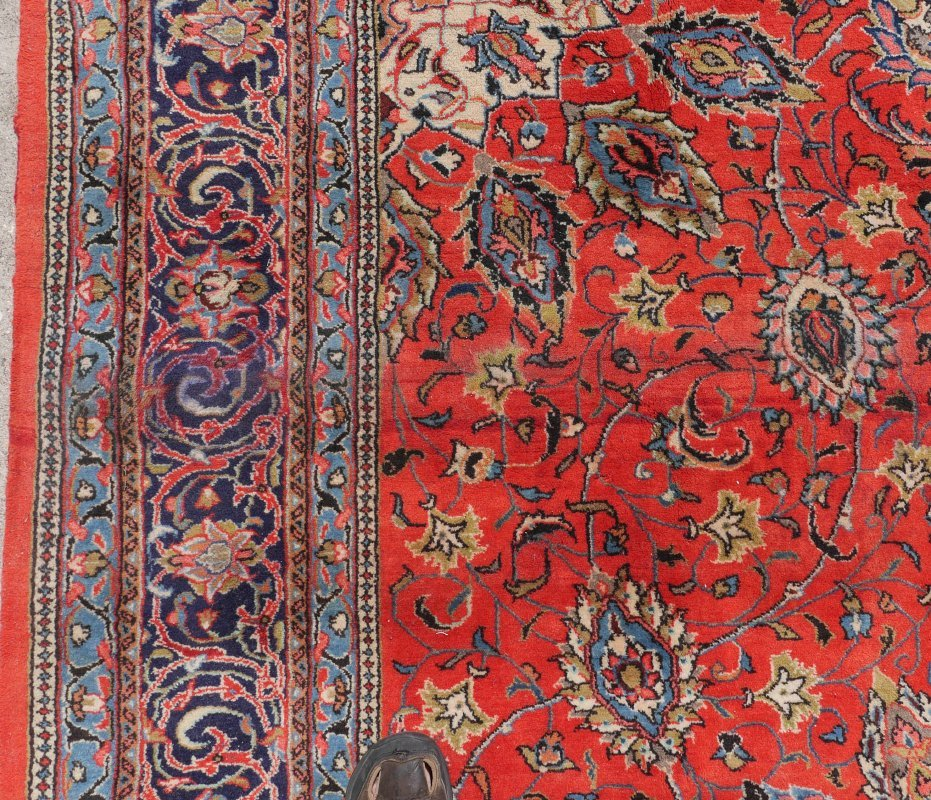 "PERSIAN HAND KNOTTED WOOL RUG, 7'3"" x 10'7"" - 4"