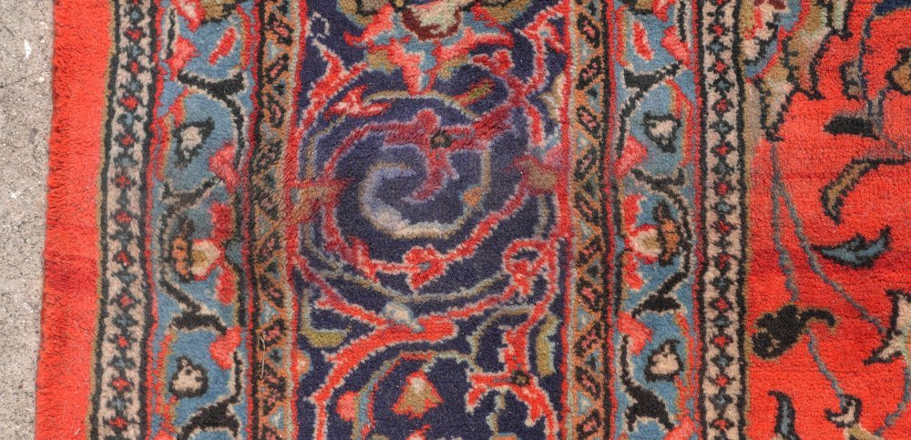"PERSIAN HAND KNOTTED WOOL RUG, 7'3"" x 10'7"" - 5"