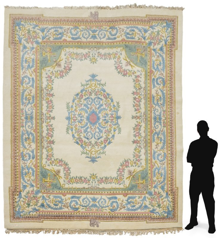 """INDO-AUBUSSON HAND KNOTTED WOOL RUG 9'1"""" x 12'3"""""""