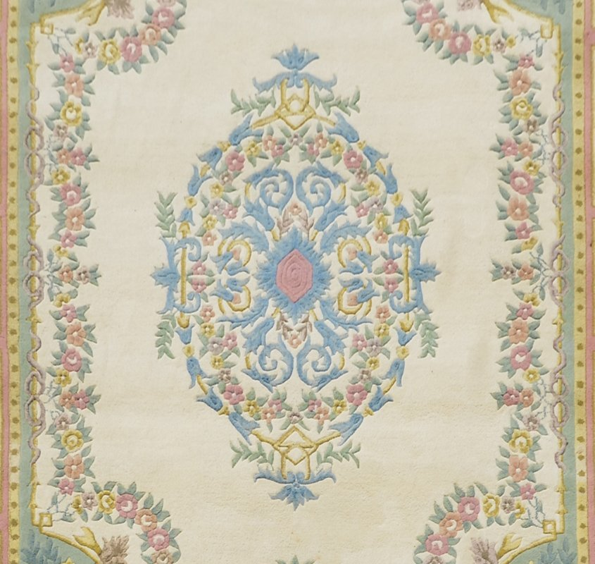 """INDO-AUBUSSON HAND KNOTTED WOOL RUG 9'1"""" x 12'3"""" - 2"""