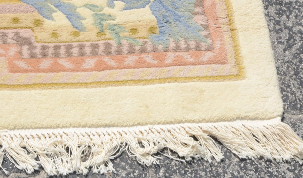 """INDO-AUBUSSON HAND KNOTTED WOOL RUG 9'1"""" x 12'3"""" - 3"""