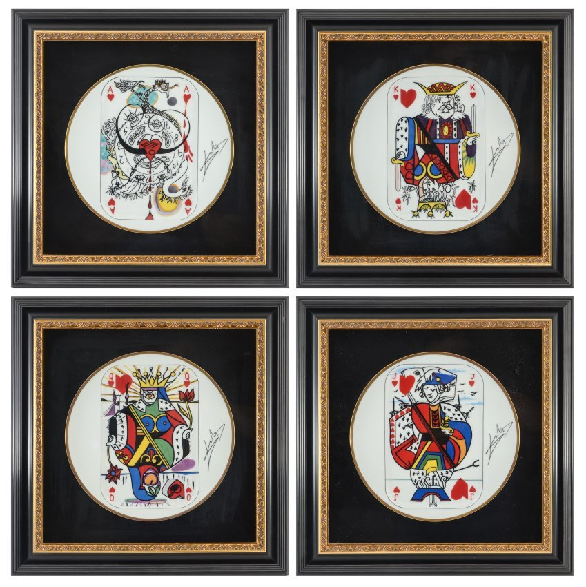 4 SALVADOR DALI PLAYING CARDS LIMOGES PLATES