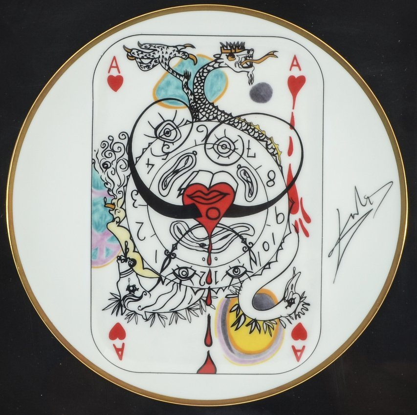 4 SALVADOR DALI PLAYING CARDS LIMOGES PLATES - 2