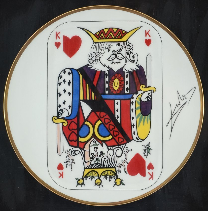 4 SALVADOR DALI PLAYING CARDS LIMOGES PLATES - 3