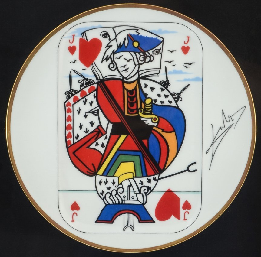 4 SALVADOR DALI PLAYING CARDS LIMOGES PLATES - 5