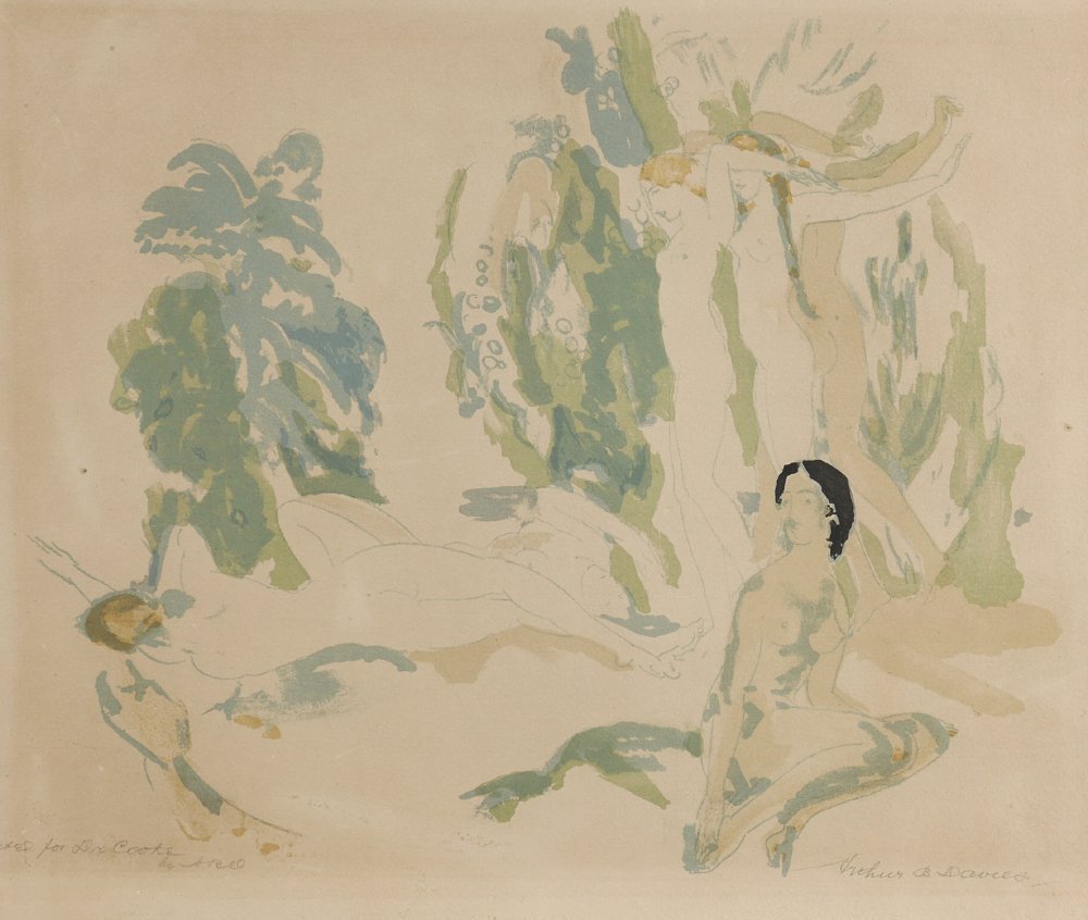 """A.B. DAVIES LITHOGRAPH """"NUDES IN THE GARDEN"""""""