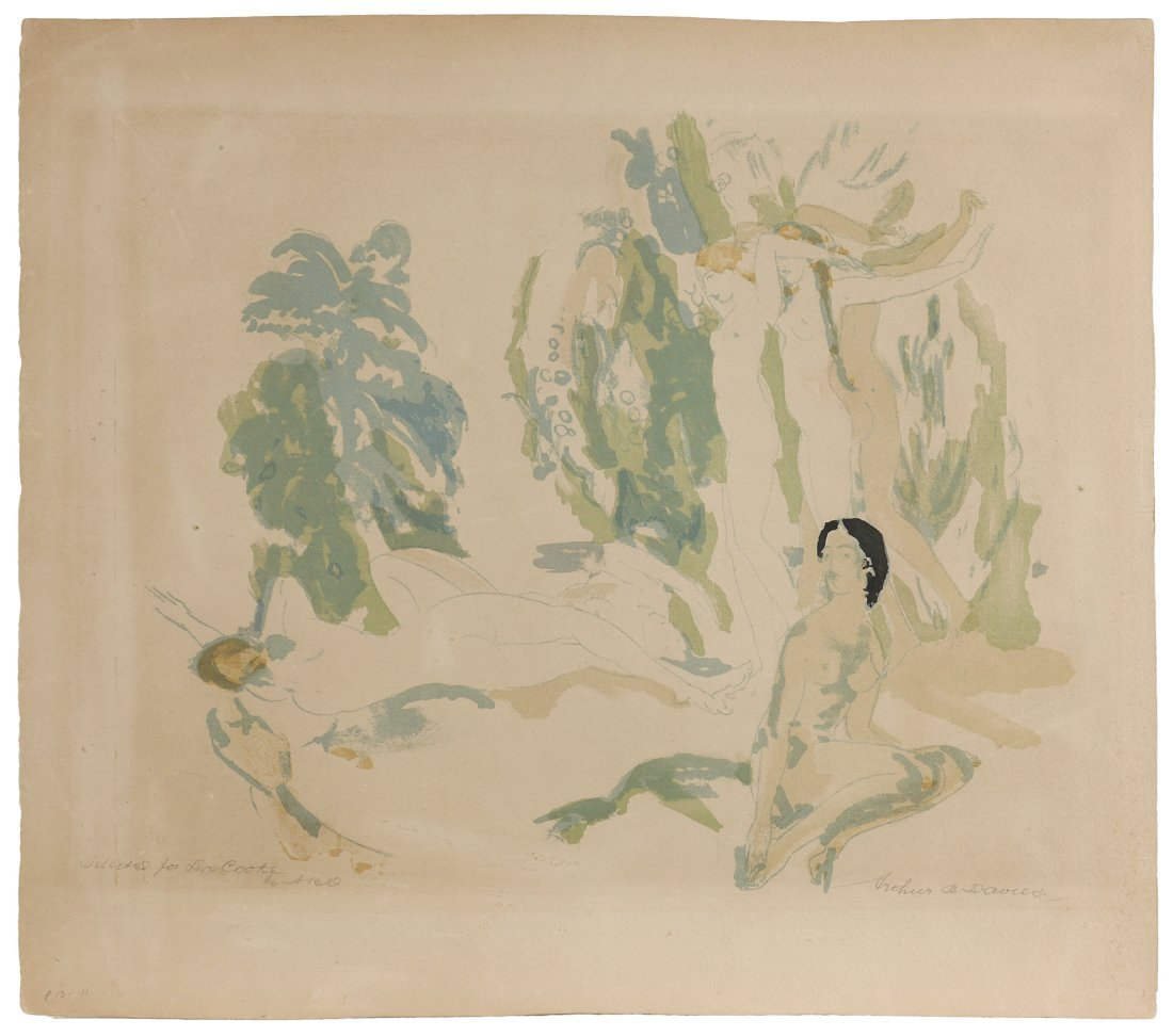 """A.B. DAVIES LITHOGRAPH """"NUDES IN THE GARDEN"""" - 2"""